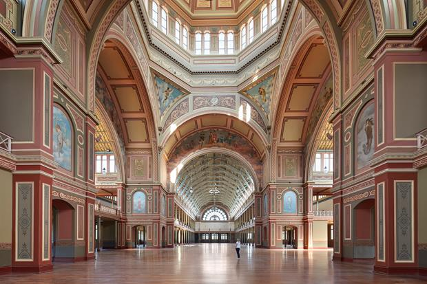 Decorate interior of a large hall with dome ceilings